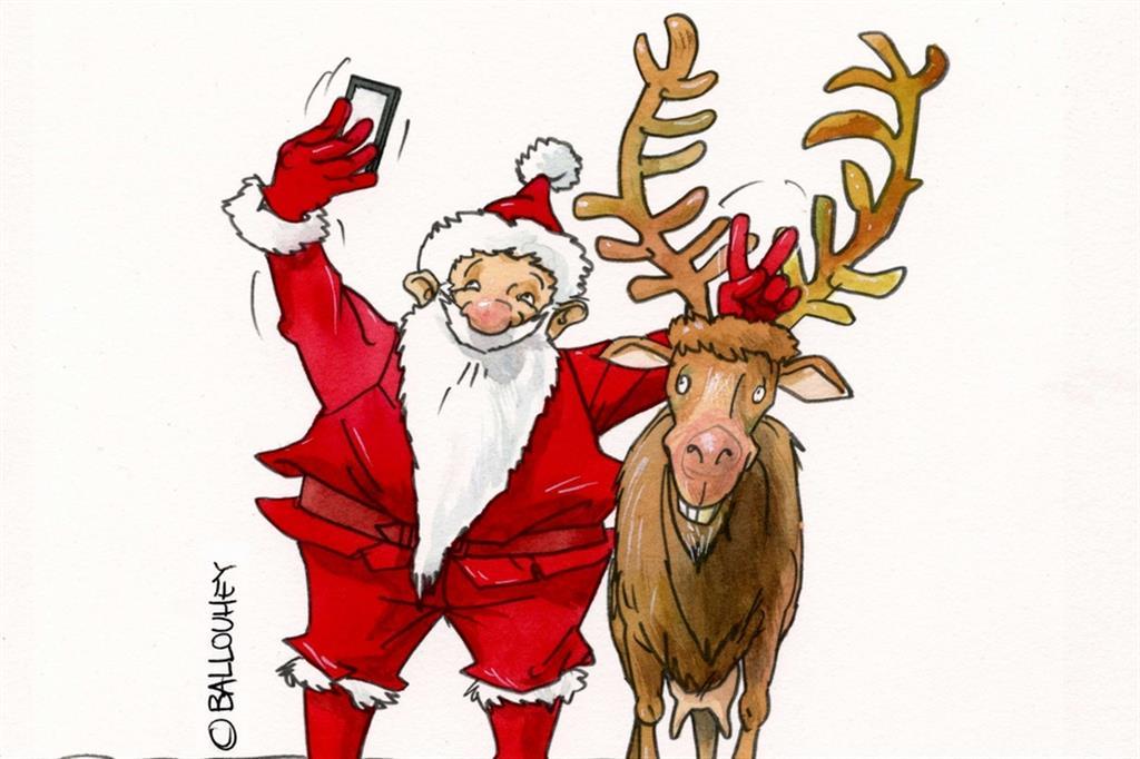 La mania dei sefie contagia pure babbo Natale per Pierre Ballouhey - Buduàr