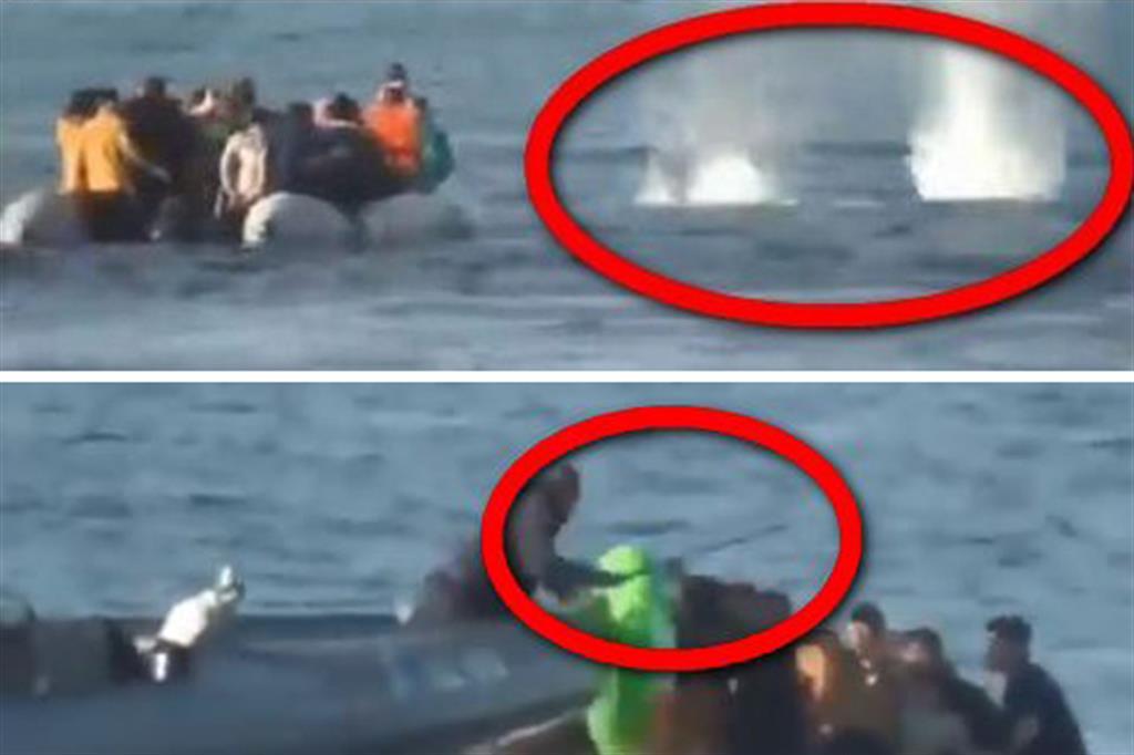 Due frame del video di Skynews ripostato da Mariano Giustino su Twitter: in alto, gli spari in acqua dalla motovedetta della Guardia Costiera graca, in basso, bastonate sui profughi nel gommone