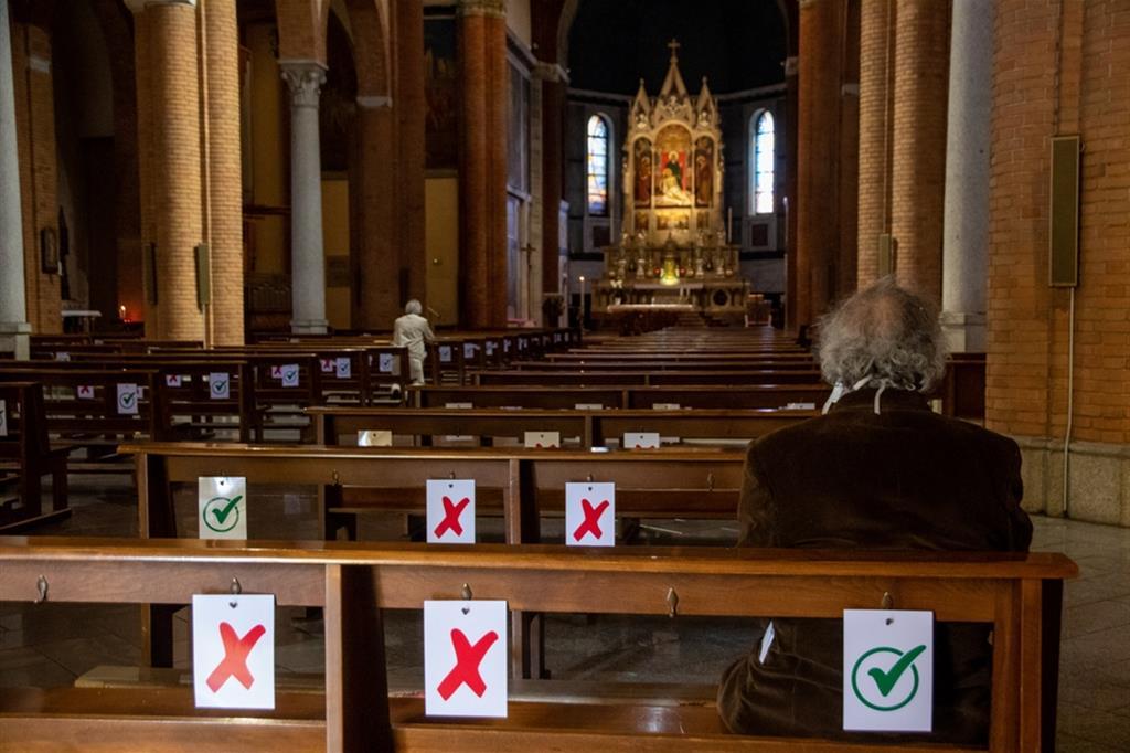 Una chiesa a Milano ai tempi del covid