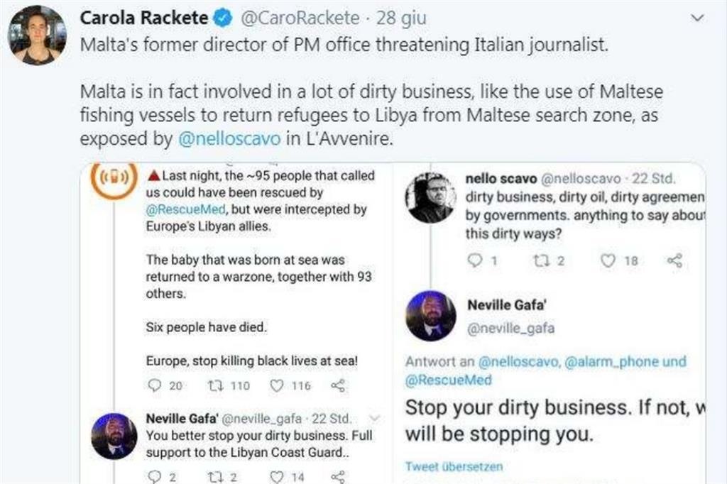 Il tweet di Carola Rackete in solidarietà a Nello Scavo. Si leggono le minacce al giornalista di Avvenire