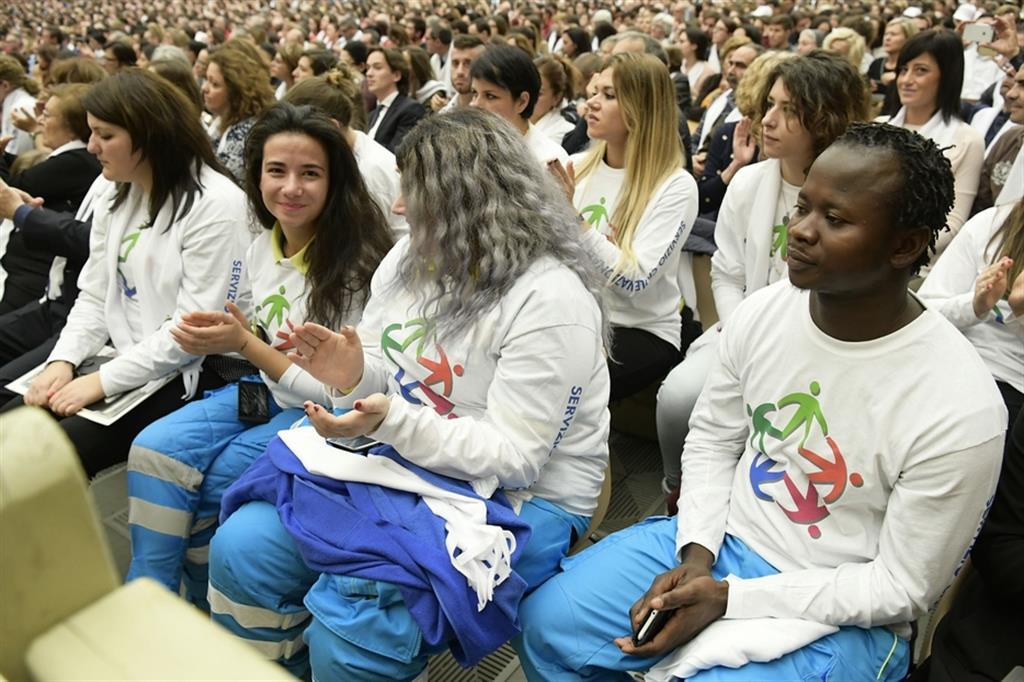 Giovani del Servizio civile nazionale in udienza dal Papa in una foto d'archivio