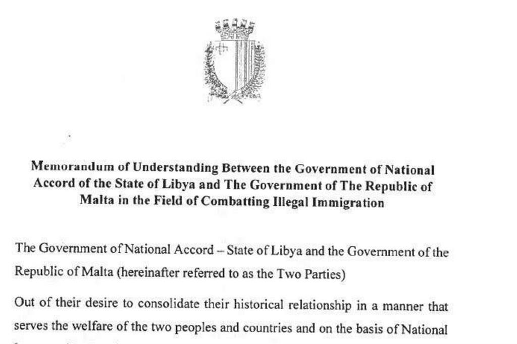 La prima pagina dell'accordo Libia-Malta