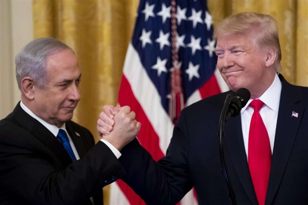Il presidente Trump con Netanyahu