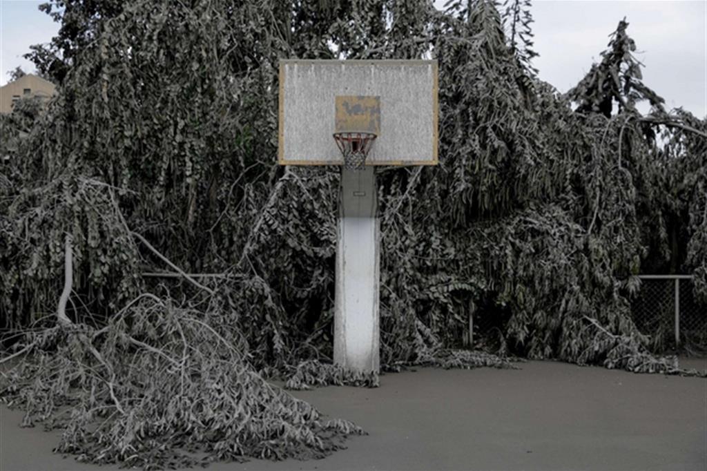 Un capo di pallacanestro ricoperto dalla cenere - Reuters / Eloisa Lopez