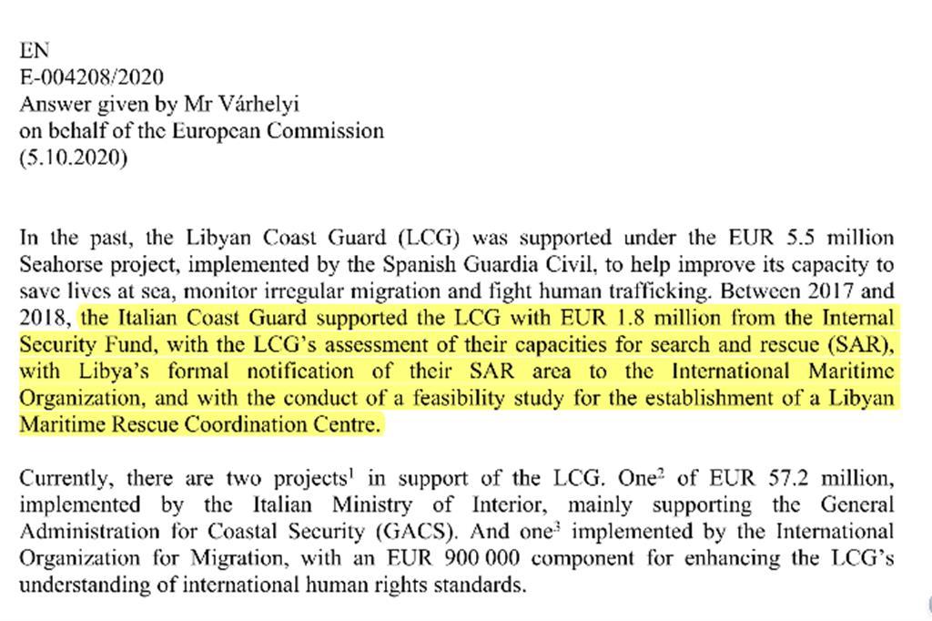 Il documento della Commissione Ue sui fondi alla cosiddetta Guardia costiera libica