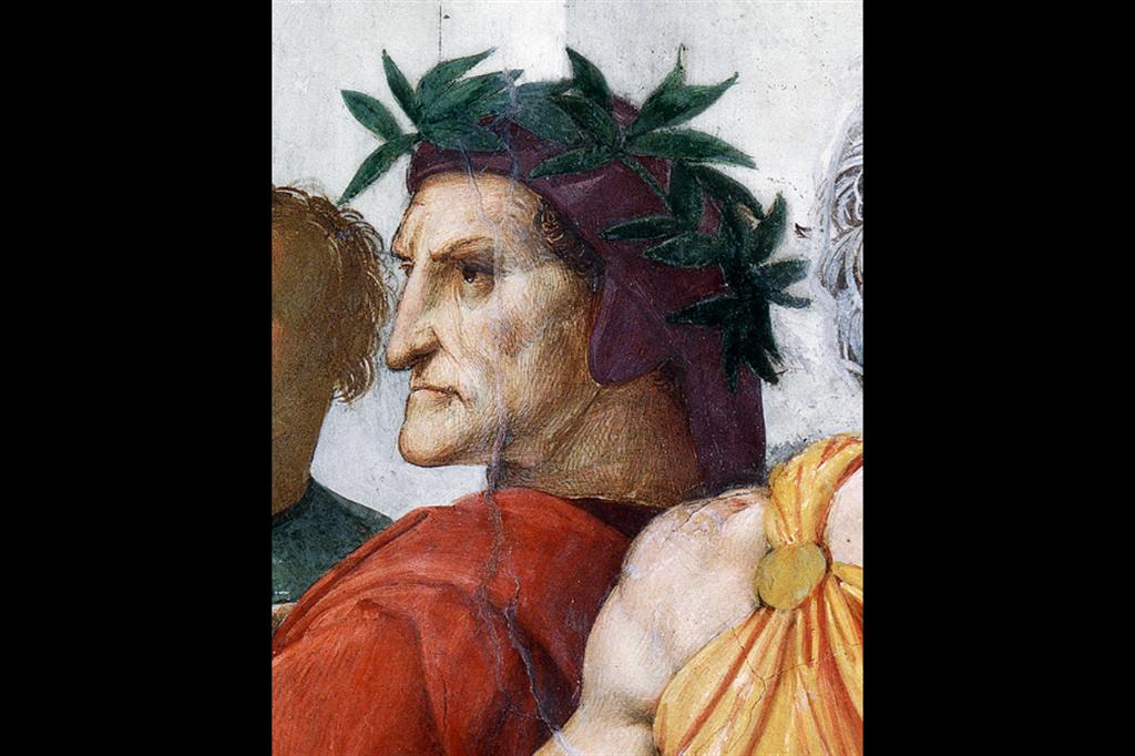 Raffaello, Ritratto di Dante, particolare della Disputa del Santissimo Sacramento, 1509, affresco. Vaticano, Palazzo Apostolico - per gentile concessione dei Musei Vaticani