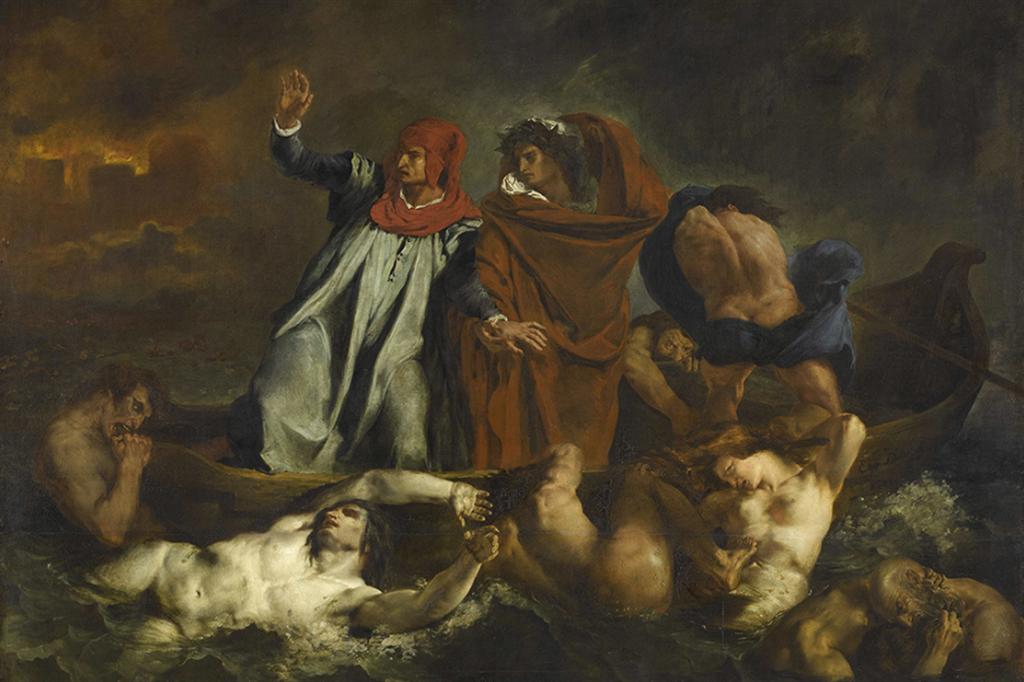 Eugène Delacroix, La barca di Dante, 1882, olio su tela. Parigi, Louvre - Scala