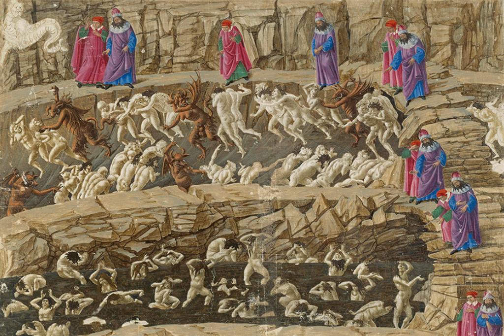 Sandro Botticelli, L'ottavo girone (Inferno, XVIII), 1480 circa, guazzo su pergamena. Berlino, Staatliche Museen - Alinari
