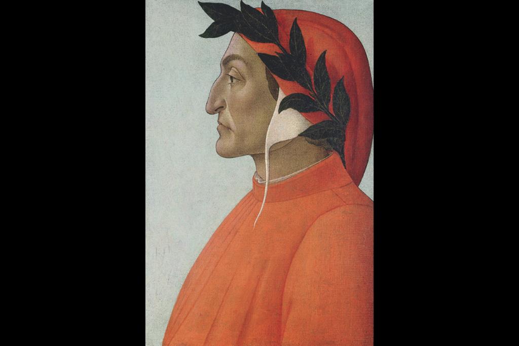 Sandro Botticelli, Ritratto di Dante Alighieri, 1495 circa, olio su tela. Ginevra, Collezione Bodmer . - Alinari