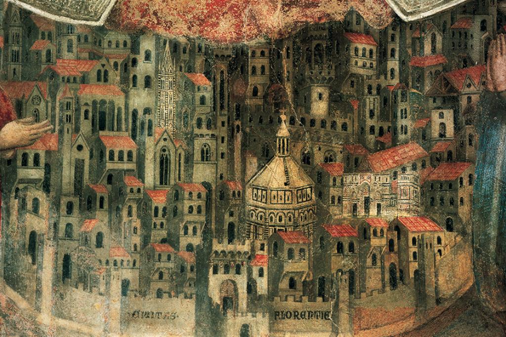 Bottega di Bernardo Daddi, Veduta di Firenze, particolare della Madonna della Misericordia,1342, affresco. Firenze, Loggia del Bigallo - Alinari