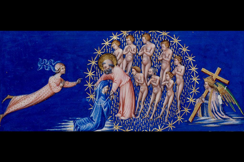 Giovanni di Paolo, Dante esaminato da san Pietro (Paradiso, XXIV), 1450 circa, miniatura. Londra, British Library, codice Yates Thompson 36, f. 173r - Scala