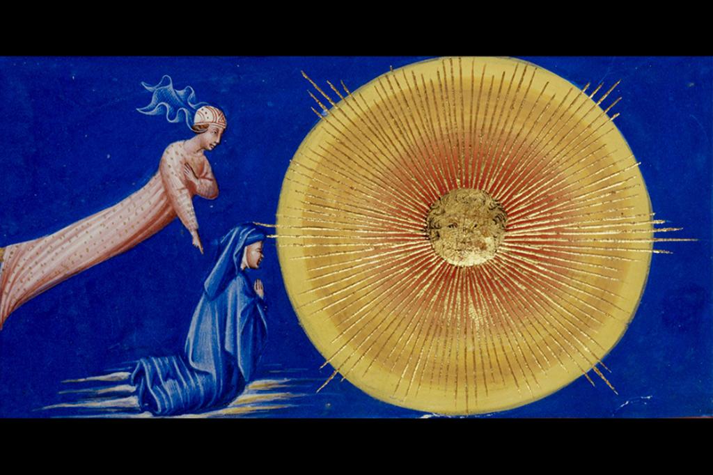 Giovanni di Paolo, Dante e Beatrice nel nono cielo (Paradiso, XXVIII), 1450 circa, miniatura. Londra, British Library, codice Yates Thompson 36, f. 179r - Scala
