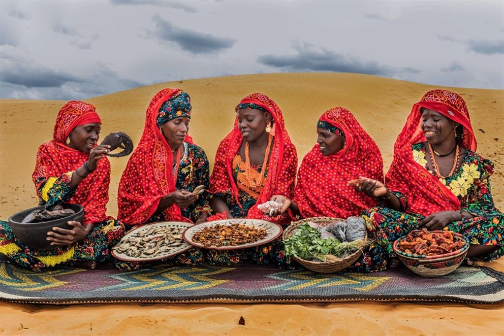 F.D., 29 anni, di etnia Kanouri, sfollata di Tam, commerciante di condimenti; S.A., 39 anni, Kanouri, sfollata di Tam, commerciante di henné e incenso; F.T., 26 anni, Kanouri, rifugiata di Kanamma (Nigeria), sarta; F.B., 33 anni, Kanouri, sfollata di Tam, commerciante di condimenti; Z.B., 30 anni, Kanouri, sfollata di Tam, sarta. Tutte beneficiarie delle Attività Generatrici di Reddito (AGR) del progetto. A partire da sinistra, ogni donna mostra un prodotto culinario tipico, adagiato su cesti e/o piatti tradizionali in vimini: la carpa affumicata del fiume Komadougou Youbé, il pesce essiccato del lago Ciad, i pomodori essiccati al sole, le foglie dell'acetosella e, infine, il peperone rosso essiccato. - ApsatouBagaya/COOPI