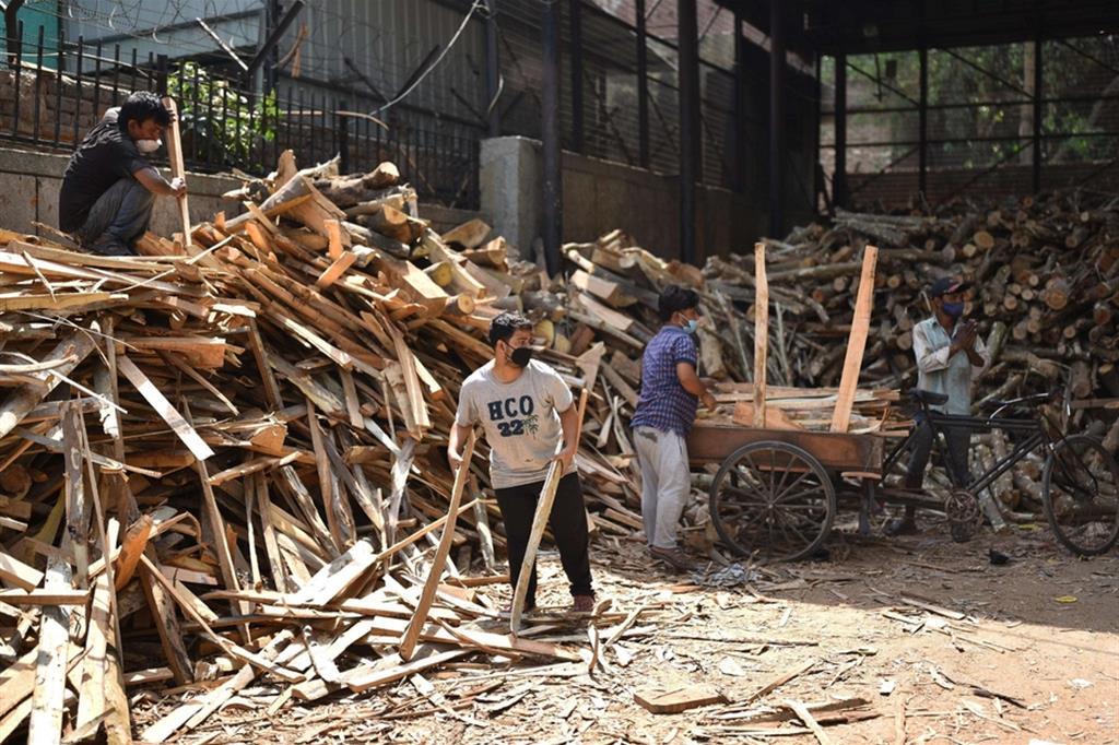 Serve legna, tanta legna per la cremazione dei cadaveri - Ansa