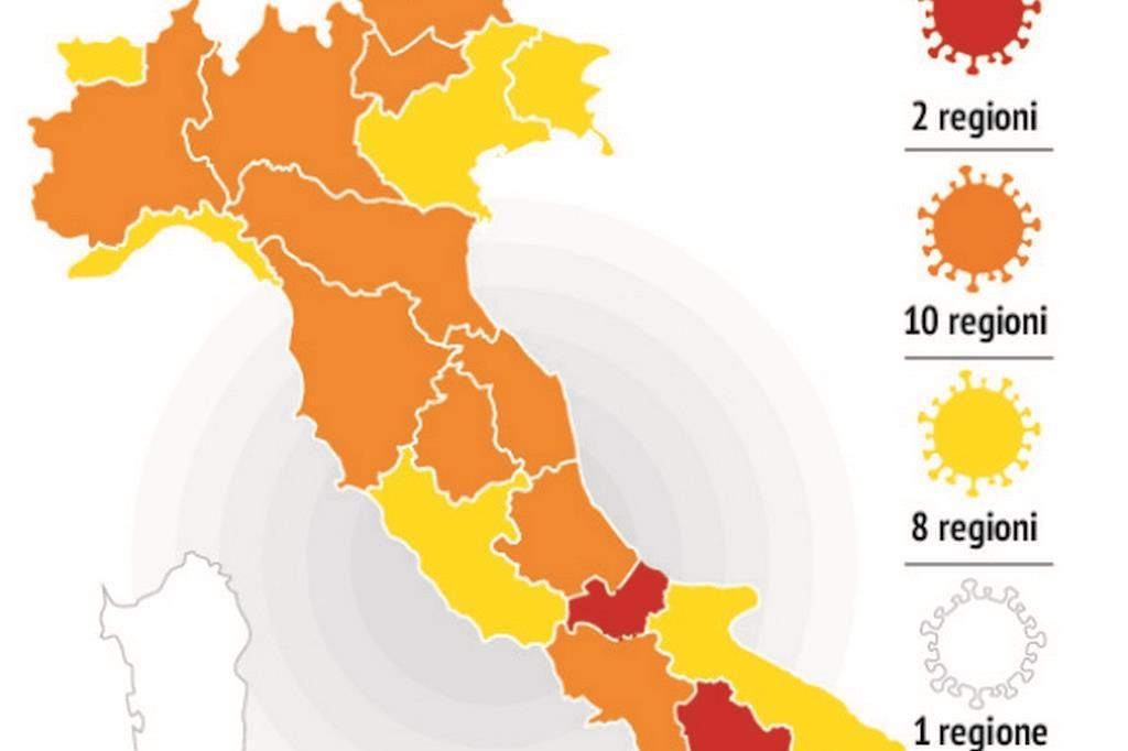 Cartina Italia Politica A Colori.L Italia A Colori Cosa Cambia Da Oggi Cts Scuole Chiuse In Zona Rossa