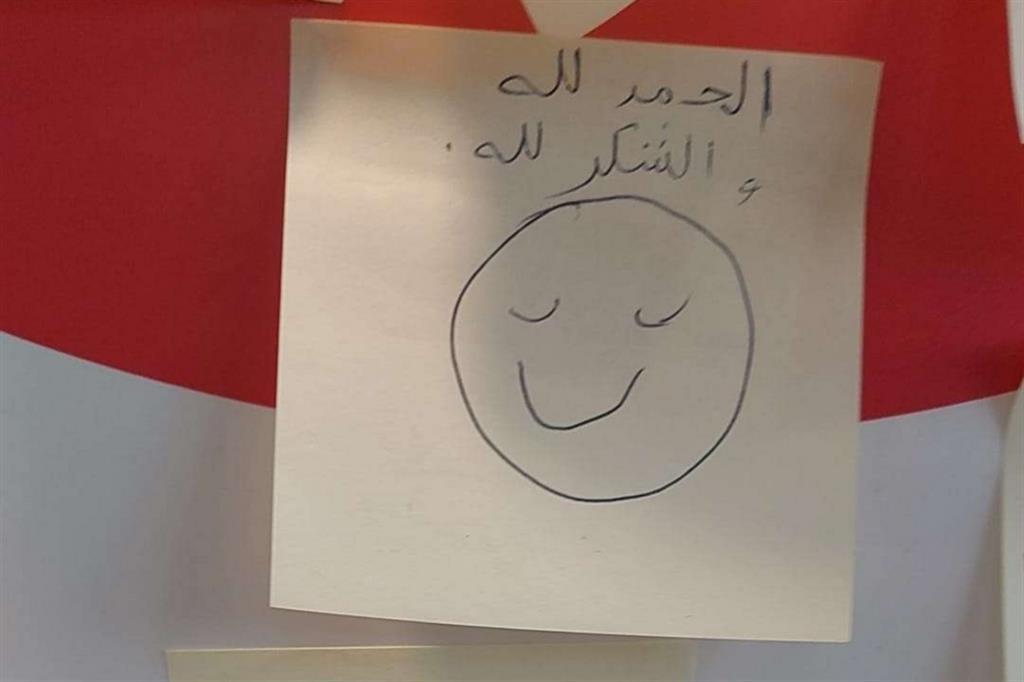 A centinaia anche i messaggi scritti in lingua straniera. Questo, in arabo -