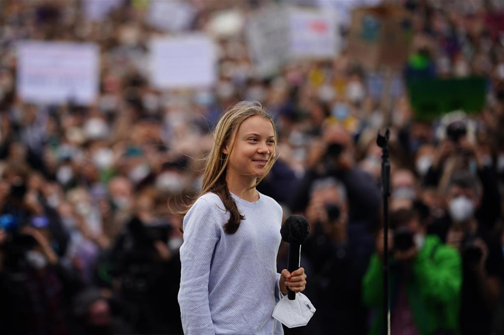 Greta Thunberg alla manifestazione a Berlino, in Germania - Ansa