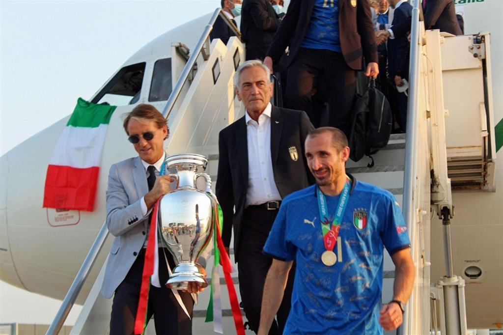 I campioni azzurri al ritorno a Roma. Incontro col presidente Mattarella