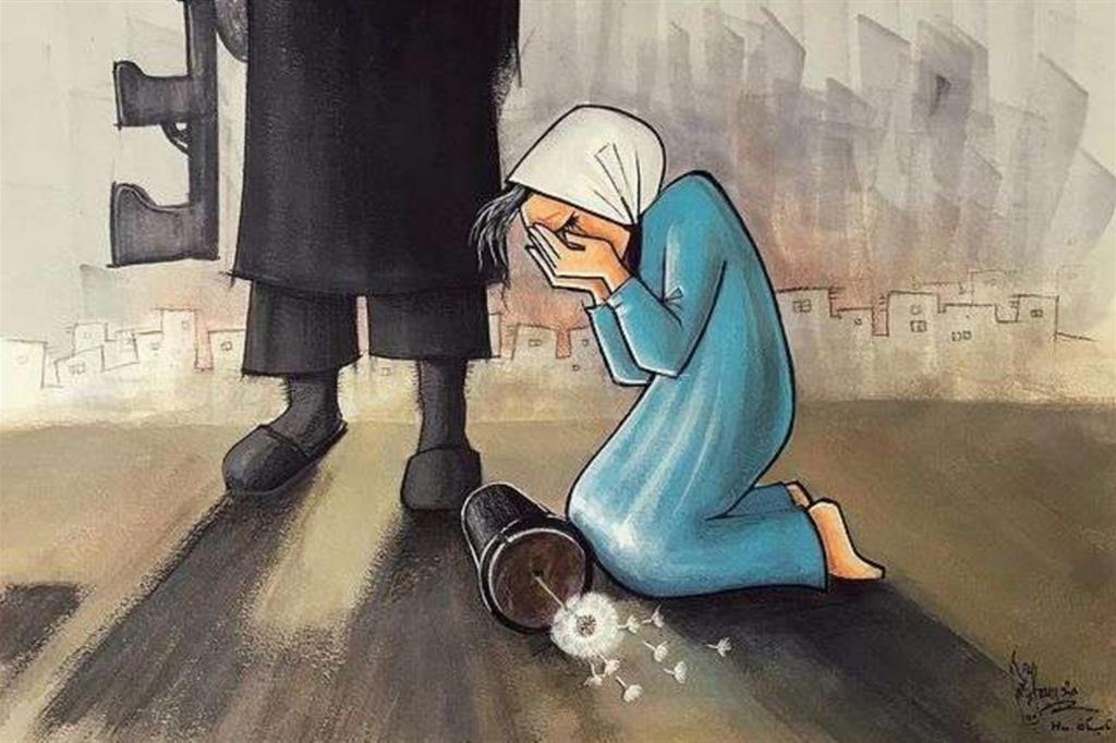 In una delle sue ultime opere l'artista ha raffigurato una donna in ginocchio al cospetto di un uomo armato (un chiaro riferimento alla conquista dei talebani). Accanto a lei c'è un vaso caduto, con un fiore, non è ancora rotto. Che sia la possibilità di raccoglierlo? - Shamsia Hassani (@shamsiahassani) - Instagram